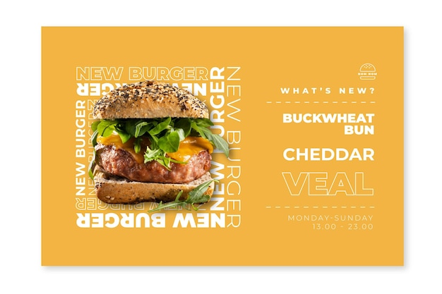 American food banner template with burger photo