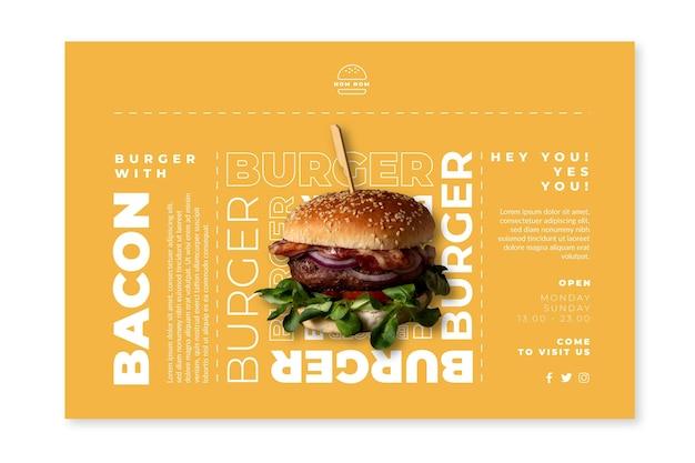 Modello di banner di cibo americano con foto di hamburger