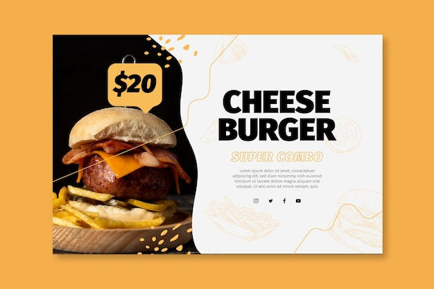American food banner template