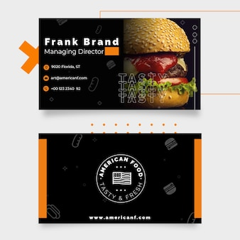 American food business card template