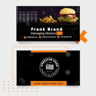 American food business card theme
