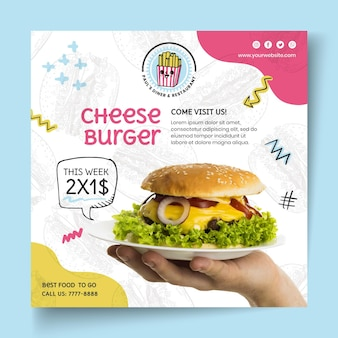 American food cheeseburger square flyer template