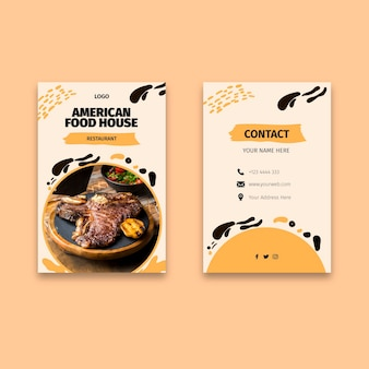 American food double-sided business card