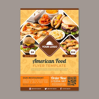 アメリカ料理のチラシテンプレート