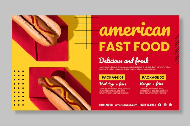 Шаблон горизонтального баннера американской кухни