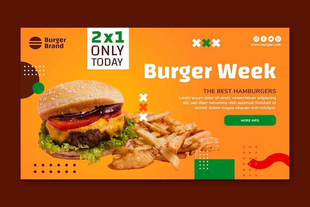 American food horizontal banner with burger
