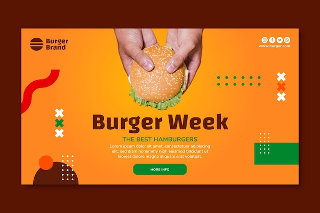 Banner orizzontale di cibo americano con hamburger