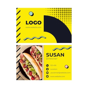 American food horizontal business card template
