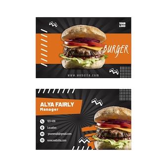 American food horizontal business card