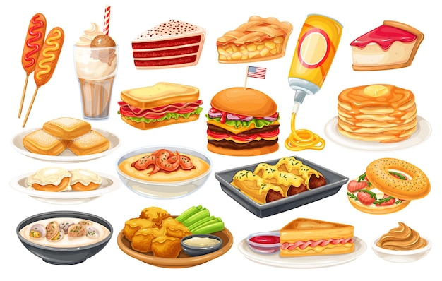 American food icon. corn dog, clam chowder, biscuits and gravy, apple pie, blt, sandwich and buffalo wings. red velvet cake, grits, monte cristo sandwich, pancakes, maple, spray cheese