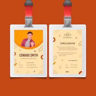 Modello di carta d'identità di cibo americano