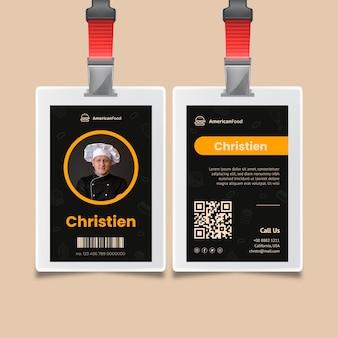 Modello di carta d'identità per cibo americano