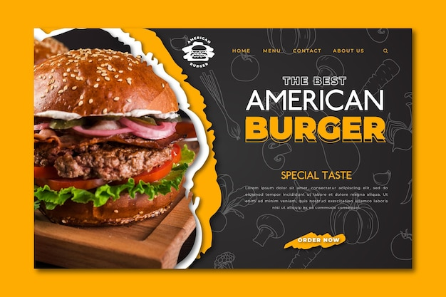 アメリカ料理のランディングページ