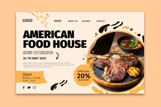 Pagina di destinazione del cibo americano