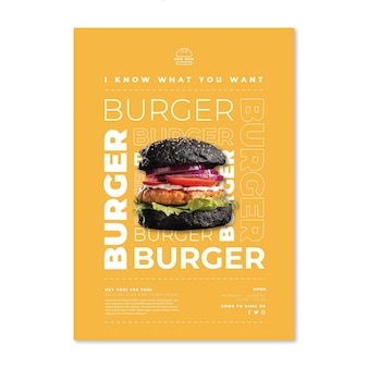 American food poster template with burger photo
