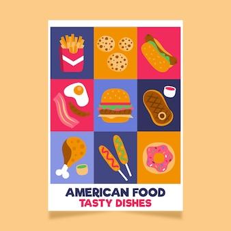 Шаблон плаката американской еды