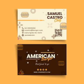 American food pub business card template