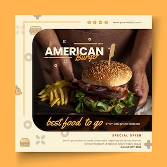 American food pub flyer template