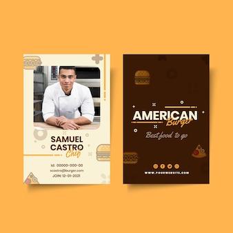 Modello di carta d'identità del pub di cibo americano