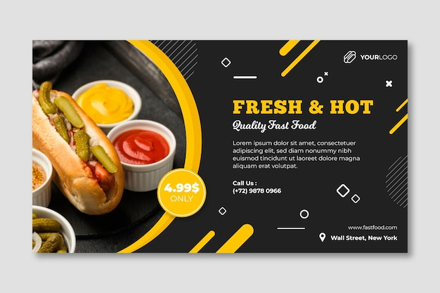 American food restaurant banner template