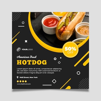 American food restaurant square flyer template