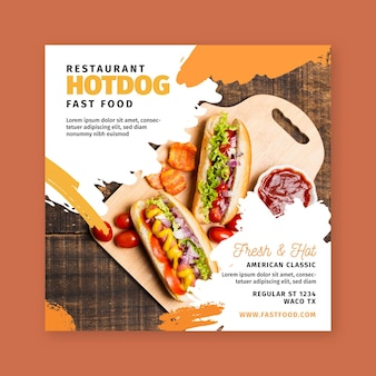 American food square flyer template