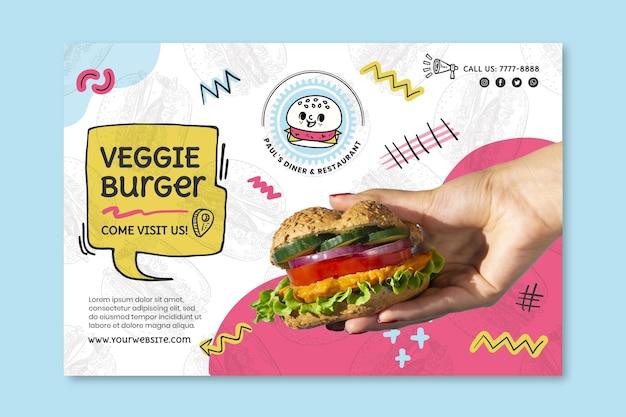 Modello di banner di hamburger vegetariano cibo americano