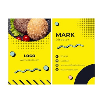 American food vertical business card template