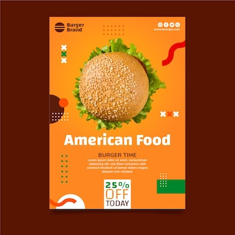 American food vertical flyer template with burger