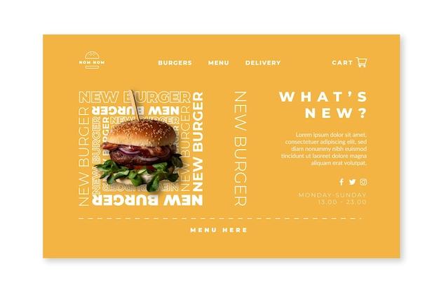 햄버거 사진과 함께 미국 음식 웹 템플릿
