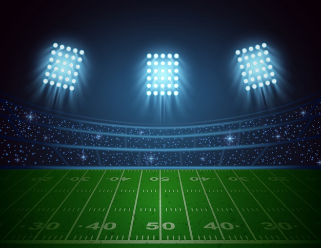 American football arena with bright stadium lights design. vector illustration