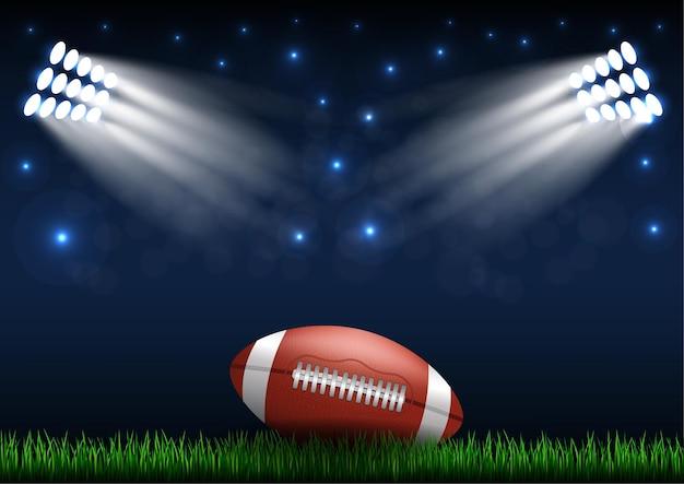 アメリカンフットボールの背景。フィールド上のボール。