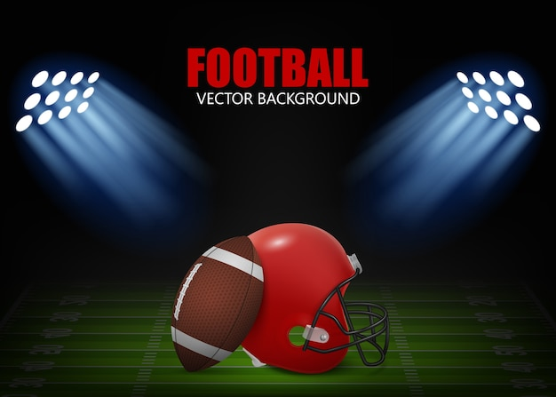 American football background - helmet and ball on the field,  illuminated by floodlights.