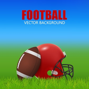 American football background - red helmet and ball on the field.