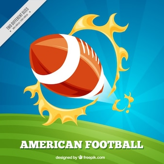 American football background with ball and flaming hoops