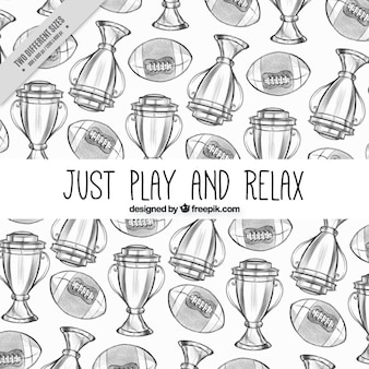 American football background with hand-drawn trophies and balls