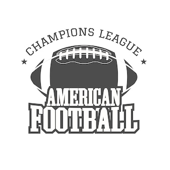 American football badge, logo, label, insignia in retro color style. monochrome print isolated on a dark background.