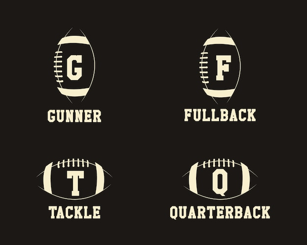 American football badge monograms with positions
