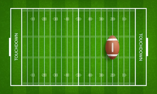 American football ball on football field.