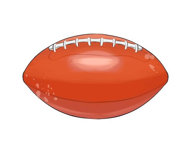 色とりどりの絵の具からのアメリカンフットボールのボール水彩画のスプラッシュ色の描画ラグビーボール