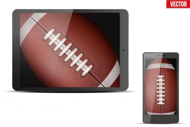 American football ball on gadgets