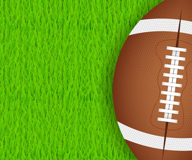 American football ball on green grass.