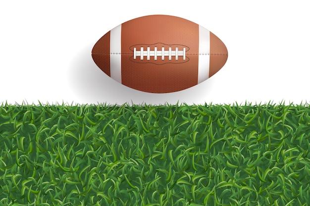 American football ball and green grass.