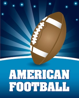 American football ball over night background vector illustration