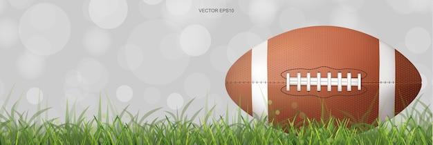 Американский футбольный мяч или мяч для регби на поле для травы.
