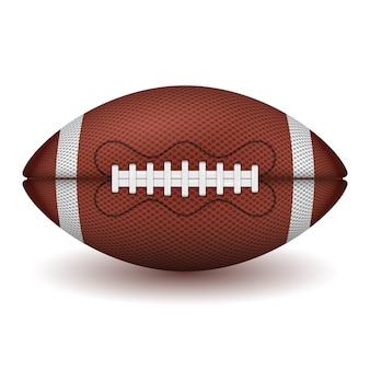 미식 축구 공. 현실적인 아이콘입니다. 전면보기 미국 럭비 공. 흰색 배경에 고립