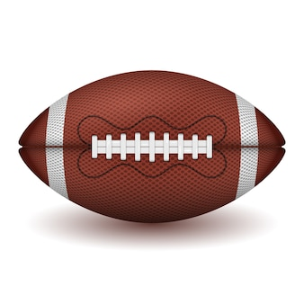American football ball. realistic icon. front view american rugby ball.  isolated on white background