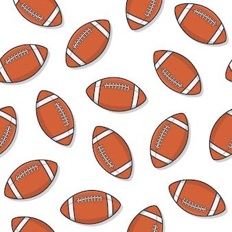 白い背景の上のアメリカンフットボールのボールのシームレスなパターン。ラグビーアイコンベクトル図
