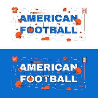 Американский футбольный баннер, американский футбольный надпись с плоской линейкой с иконками