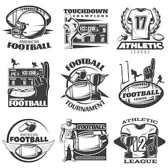 Emblemi bianchi neri di football americano con l'abbigliamento e l'attrezzatura di sport della mano della schiuma del trofeo del giocatore isolati